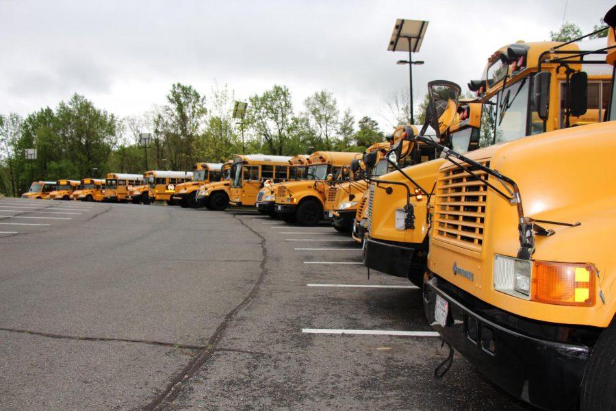 Empty+buses+line+the+senior+lot.+
