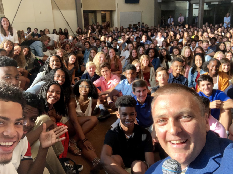 Mr. McLane and Upper School students on the first day of school this year.