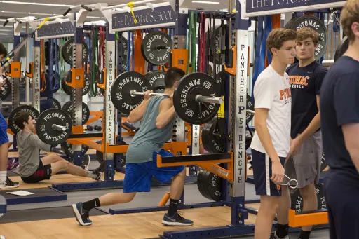 Potomac students pictured in the Spangler weight room.