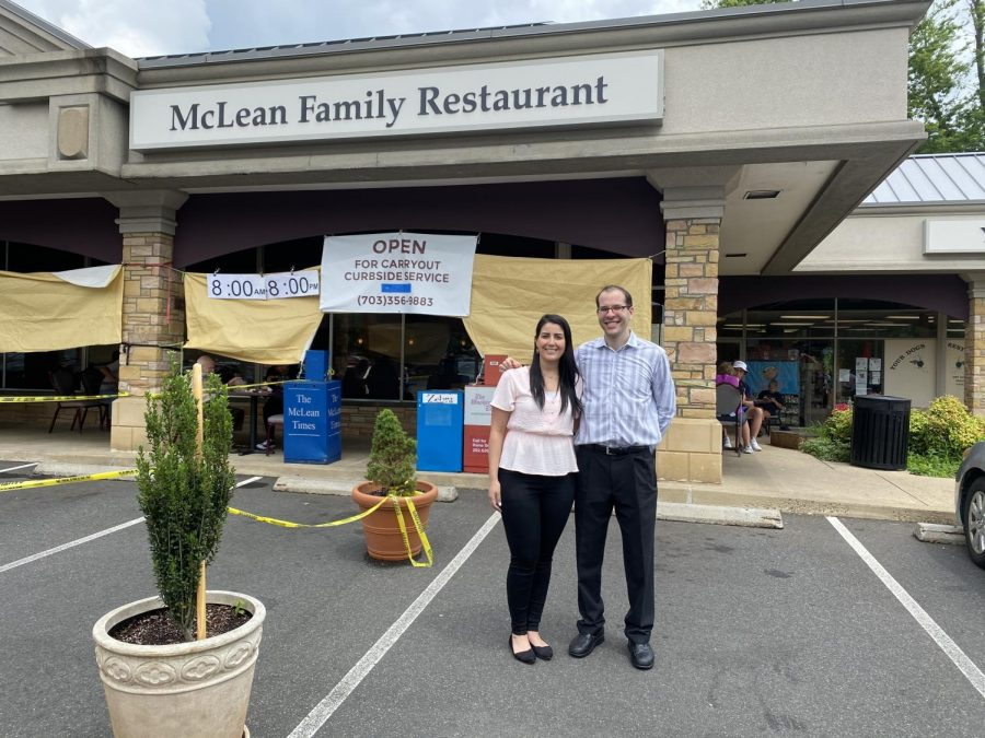 Post-shutdown%2C+an+%27OPEN%27+sign+hangs+on+the+McLean+Family+Restaurant+storefront+implores+McLean+residents+to+dine-in+or+carry+out.+%0A%0ASecond+generation+members+of+the+Kapetanakis+family+stand+in+front%3A+Constance+%28left%29+and+Nick+%28right%29