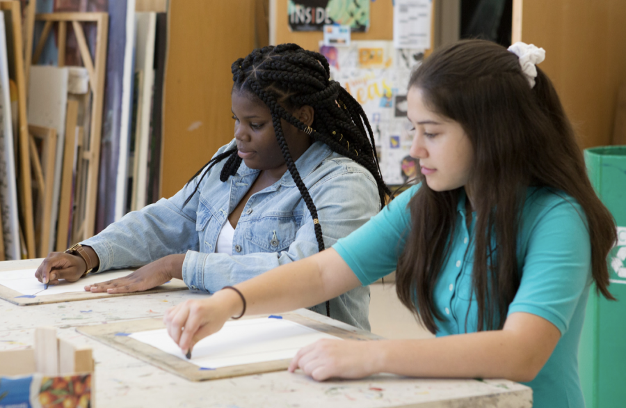 Potomac students in art class on the first day of classes in 2019.
