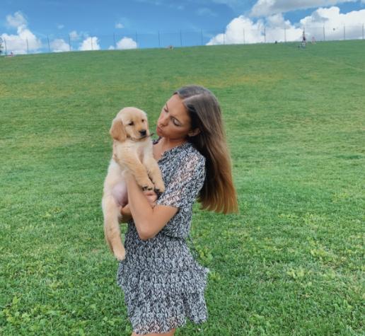 Helena Hunter with new puppy, Cleo.