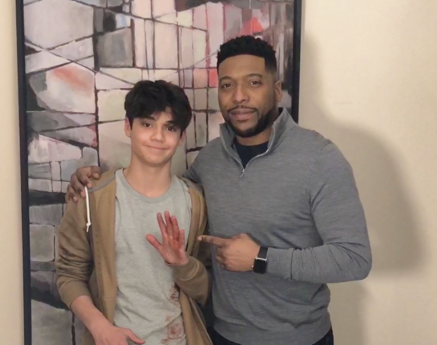 Naveen Paddock pictured with co-star Jocko Sims while filming New Amsterdam in 2018.