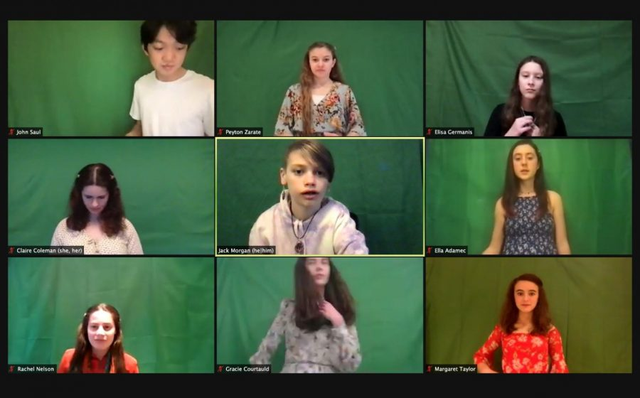 Members of this year's cast of the spring musical on Zoom, mid-rehearsal of