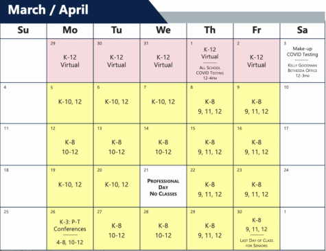 Following Spring Break, students will return to campus with three grades in Bright Yellow mode.