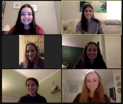 Senior yearbook editors on a Zoom call this spring.