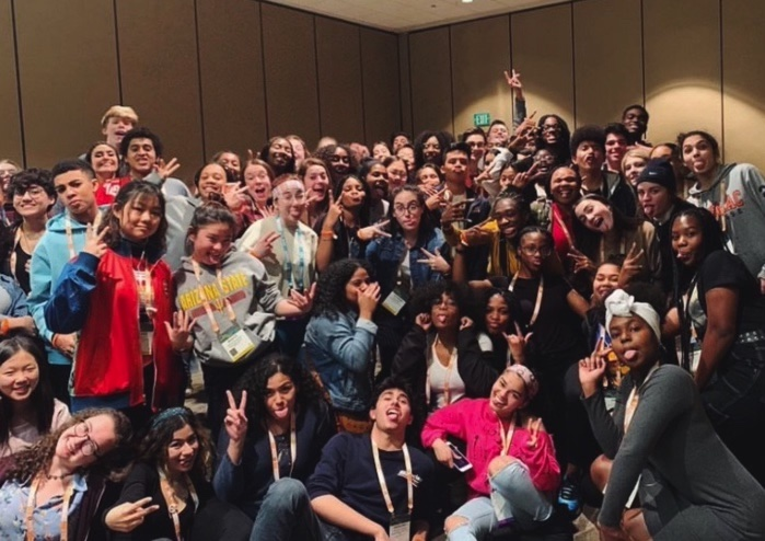 Zhané Moledina '21 pictured among other  attendees of the Student Diversity Leadership Conference in 2019.