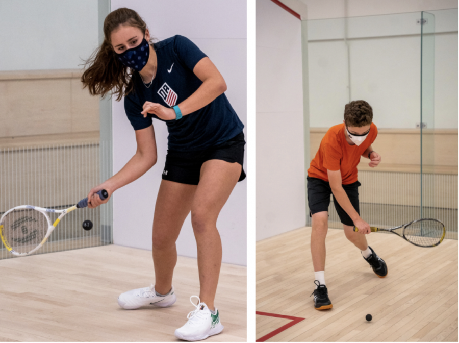Members of the squash team practicing during Potomac's abbreviated winter season.