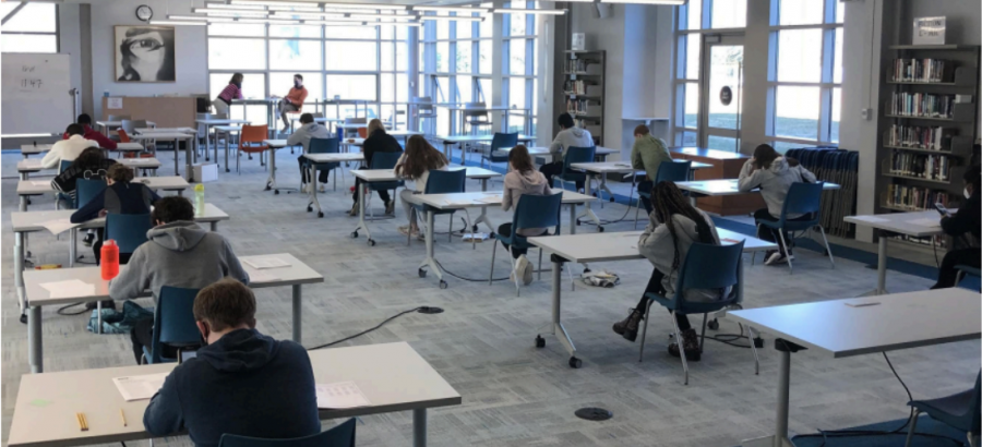 Potomac juniors pictured taking standardized testing Wednesday, March 3.