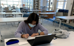 Senior Evelina Swigart hard at work in the library, preparing to take a test.
