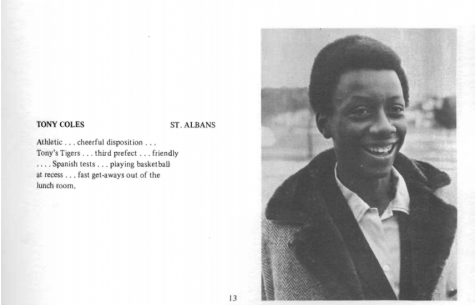Pictured above, Tony Coles, was the first Black student to graduate from Potomac in 1971. (Photo: 1971 Potomac Yearbook).